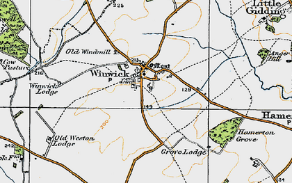 Old map of Winwick in 1920