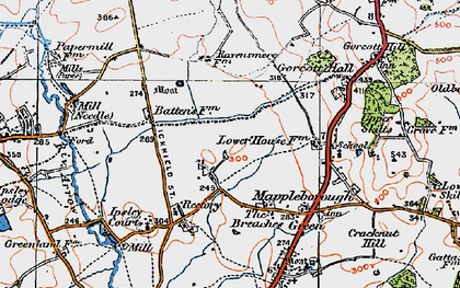 Old map of Winyates in 1919