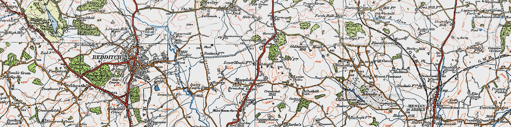 Old map of Winyates Green in 1919
