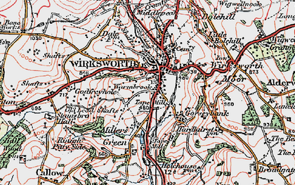 Old map of Wirksworth in 1921