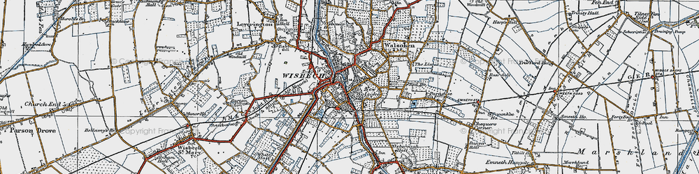 Old map of Wisbech in 1922
