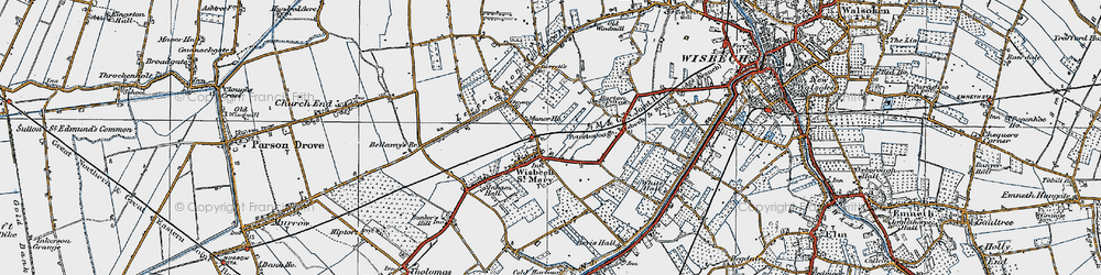 Old map of Wisbech St Mary in 1922