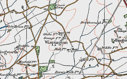 Old map of Wispington in 1923