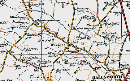 Old map of Wissett Lodge in 1921