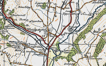 Old map of Wistanstow in 1920