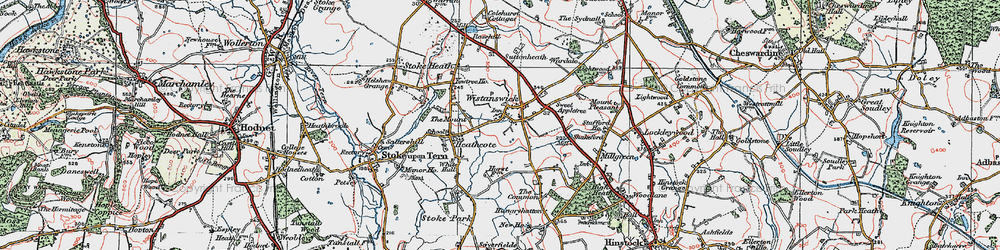 Old map of Wistanswick in 1921