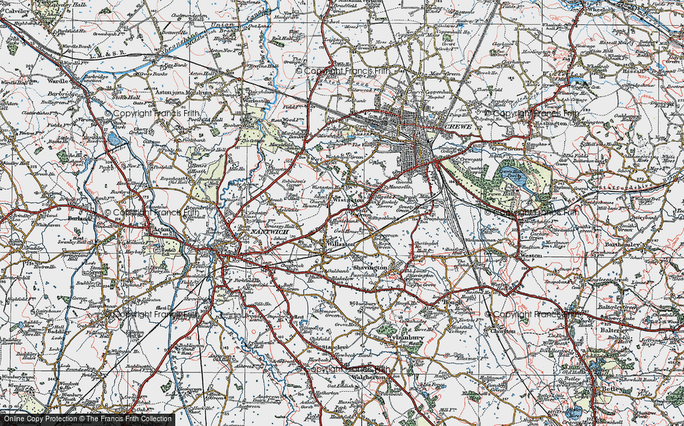 Old Map of Wistaston, 1921 in 1921
