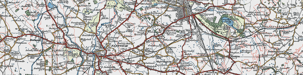 Old map of Wistaston in 1921