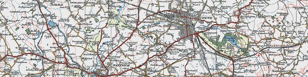 Old map of Wistaston Green in 1923