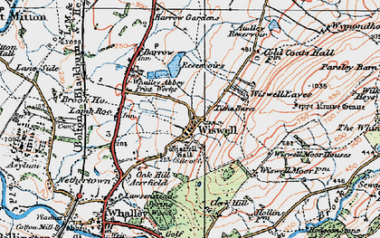 Old map of Wiswell Moor Houses in 1924