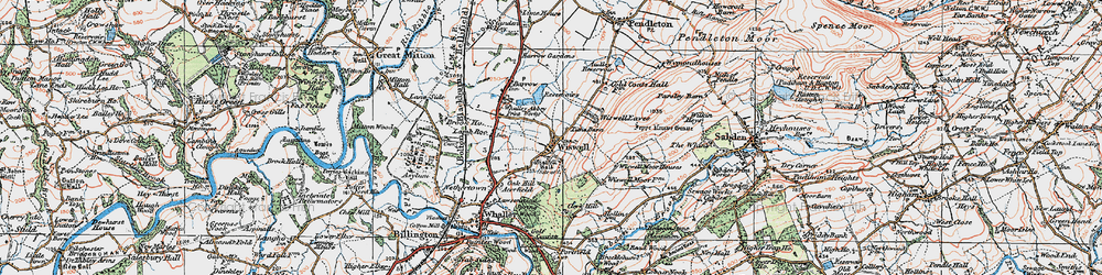 Old map of Wiswell in 1924