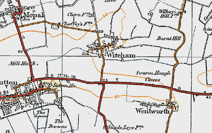 Old map of Witcham in 1920