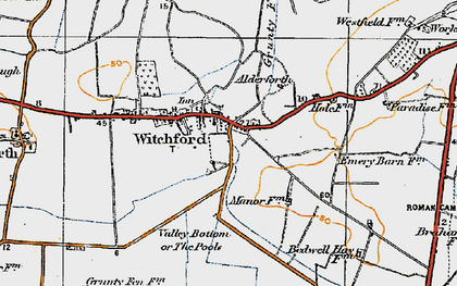 Old map of Witchford in 1920