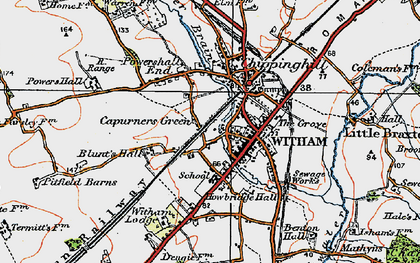 Old map of Witham in 1921