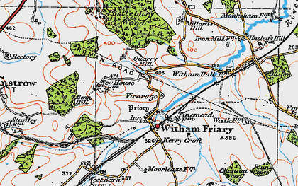 Old map of Witham Friary in 1919