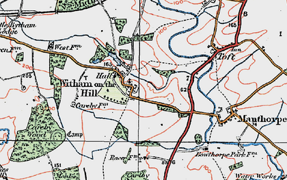 Old map of Witham on the Hill in 1922