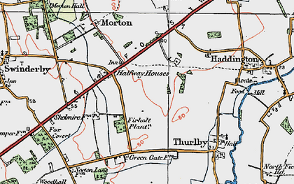 Old map of Witham St Hughs in 1923