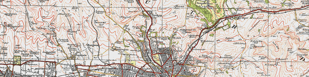 Old map of Withdean in 1920