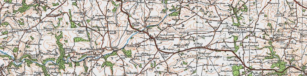 Old map of West Yeo Moor in 1919
