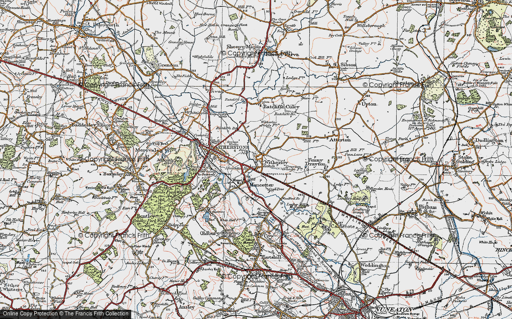 Old Map of Witherley, 1921 in 1921