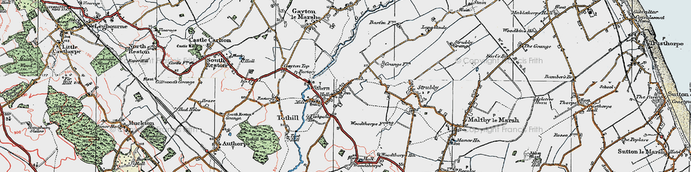 Old map of Withern in 1923