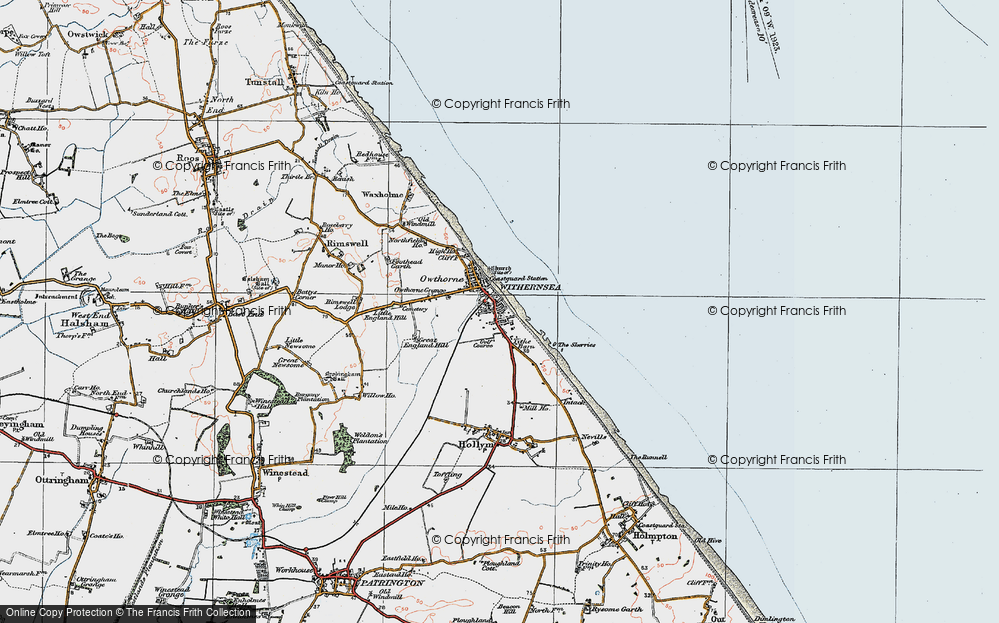 Old Map of Withernsea, 1924 in 1924
