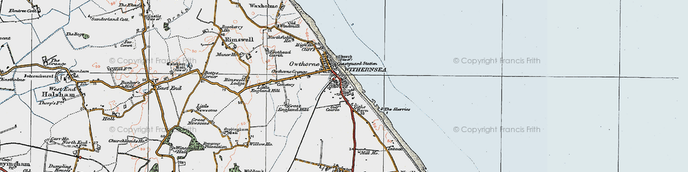 Old map of Withernsea in 1924