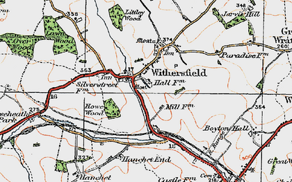 Old map of Withersfield in 1920