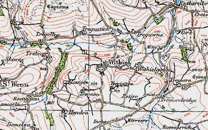 Old map of Withiel in 1919