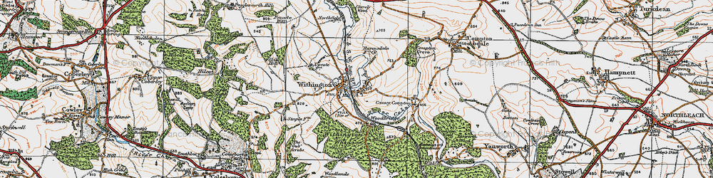 Old map of Withington in 1919