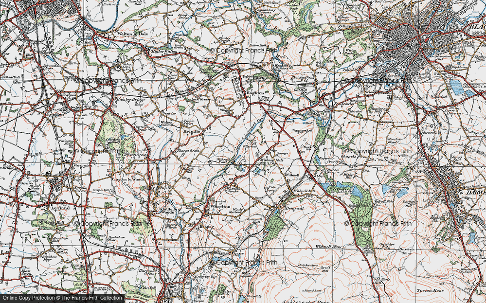 Old Map of Historic Map covering Leeds and Liverpool Canal in 1924