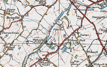 Old map of Leeds and Liverpool Canal in 1924