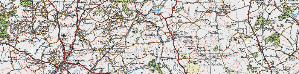 Old map of Withybed Green in 1919