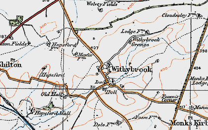 Old map of Withybrook Spinney in 1920