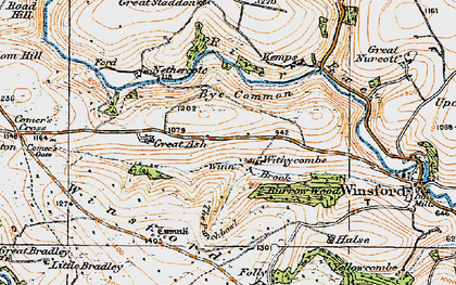 Old map of Winsford Hill in 1919