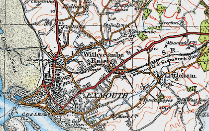 Old map of Withycombe Raleigh in 1919
