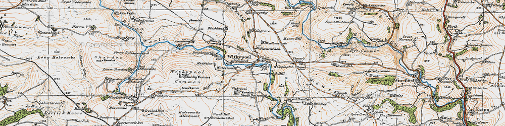 Old map of Withypool in 1919