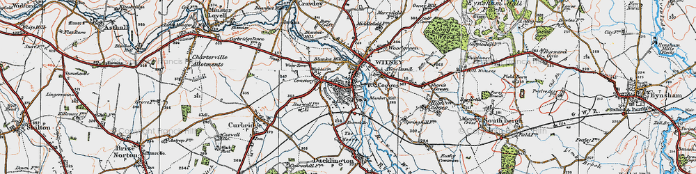 Old map of Witney in 1919