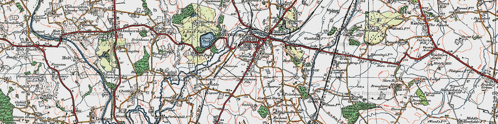 Old map of Witton in 1919