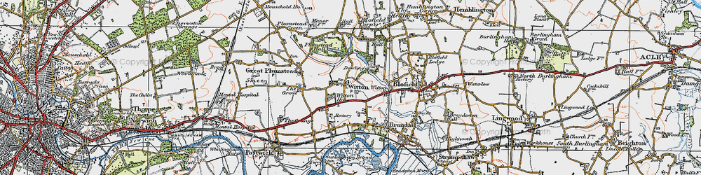 Old map of Witton in 1922