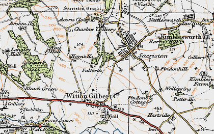 Old map of Witton Gilbert in 1925