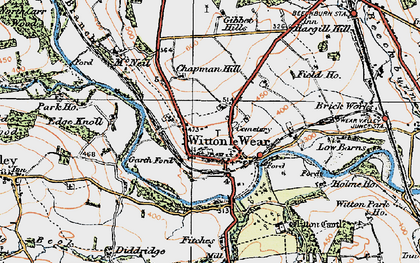 Old map of Witton Castle in 1925