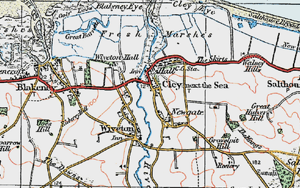 Old map of Wiveton in 1921