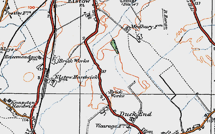 Old map of Wixams in 1919