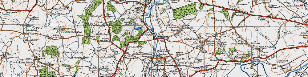 Old map of Wixford in 1919