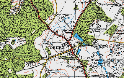 Old map of Woburn in 1919