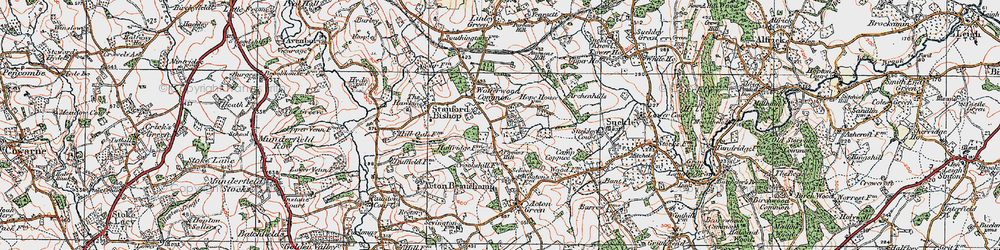 Old map of Wofferwood Common in 1920