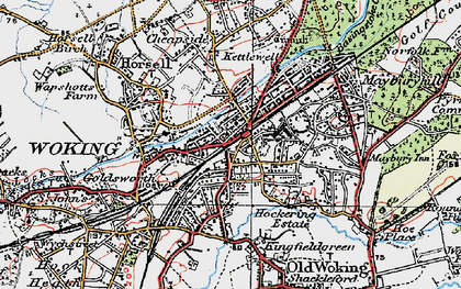 Old map of Woking in 1920