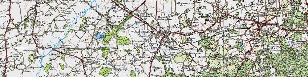 Old map of Wokingham in 1919