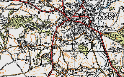 Old map of Wolborough in 1919